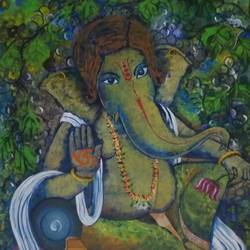 ganpati, 20 x 24 inch, pratims hoare,20x24inch,canvas,paintings,ganesha paintings | lord ganesh paintings,paintings for living room,acrylic color,GAL01136229873