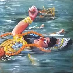 durga immersion, 36 x 30 inch, pratims hoare,36x30inch,canvas,paintings,illustration paintings,paintings for living room,acrylic color,GAL01136229874