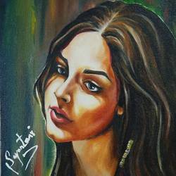 pensive, 12 x 17 inch, sayantani chatterjee,12x17inch,canvas,paintings,portrait paintings,oil color,GAL01845829886