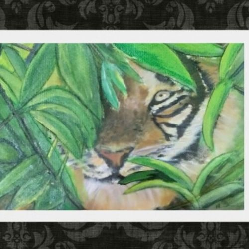 big tiger hiding in bush, 11 x 17 inch, nandhini rt,11x17inch,drawing paper,paintings,wildlife paintings,nature paintings | scenery paintings,paintings for dining room,paintings for living room,paintings for bedroom,paintings for office,paintings for bathroom,paintings for kids room,paintings for hotel,paintings for kitchen,paintings for school,paintings for hospital,acrylic color,GAL0887929888