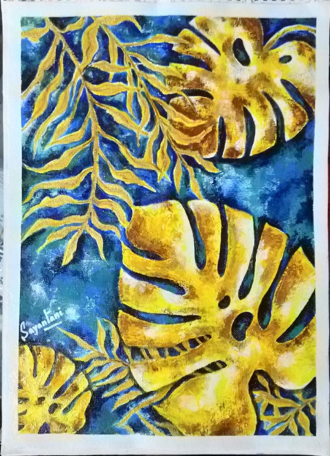 turtle leaf, 12 x 17 inch, sayantani chatterjee,12x17inch,canvas,paintings,nature paintings | scenery paintings,acrylic color,GAL01845829890