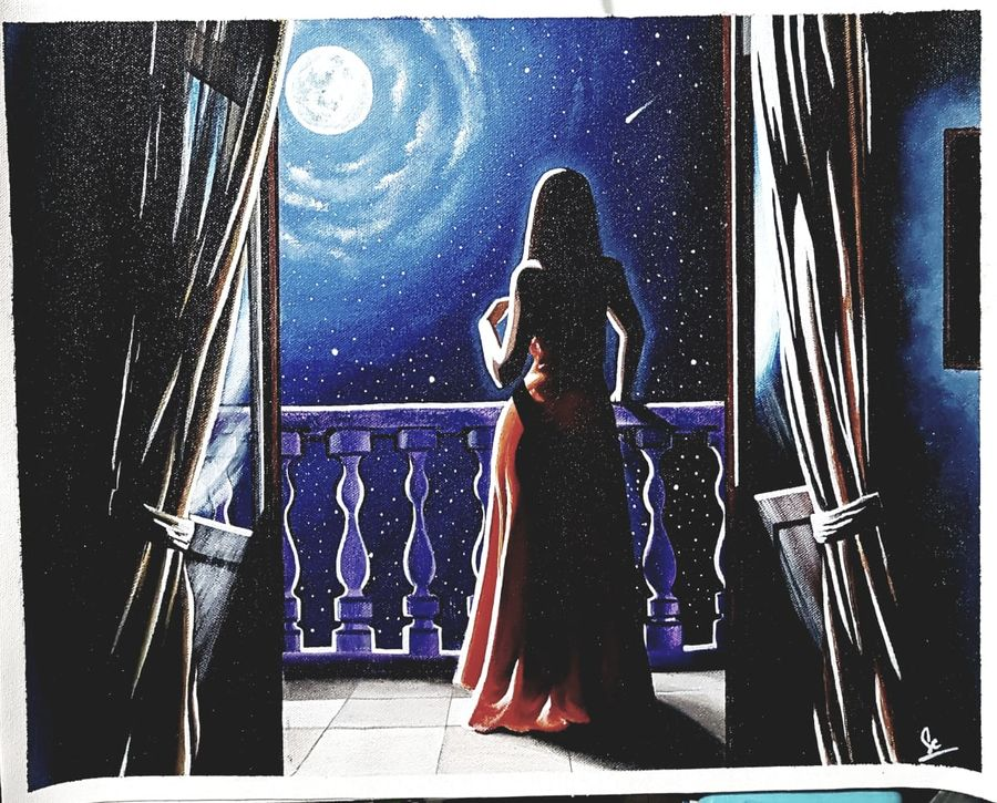 moonstruck, 20 x 16 inch, sayantani chatterjee,20x16inch,canvas,figurative paintings,acrylic color,GAL01845829891