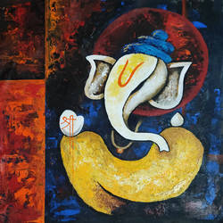 lord ganehsa, 18 x 20 inch, apurva suvarna,18x20inch,canvas,paintings,abstract paintings,modern art paintings,religious paintings,minimalist paintings,ganesha paintings | lord ganesh paintings,paintings for dining room,paintings for living room,paintings for bedroom,paintings for office,paintings for kids room,paintings for hotel,paintings for school,paintings for hospital,acrylic color,GAL0477529895