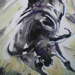 black shaded bull, 14 x 12 inch, kishore ghosh,wildlife paintings,paintings for living room,fabriano sheet,acrylic color,14x12inch,GAL0124299