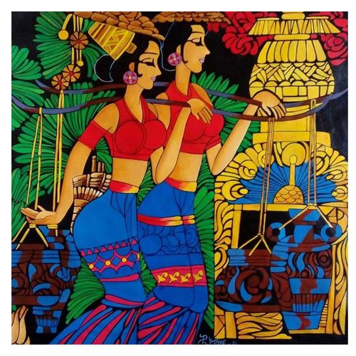banjare-02, 32 x 33 inch, paresh more,figurative paintings,paintings for living room,canvas,acrylic color,32x33inch,GAL09972991