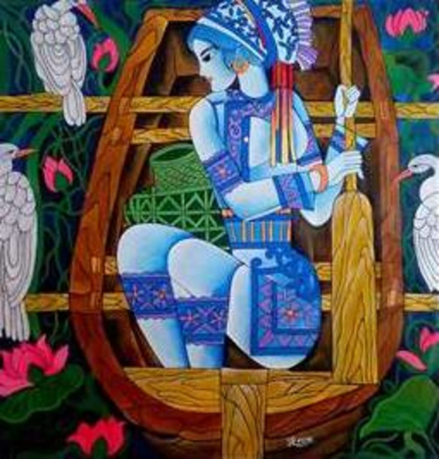 blue lady, 29 x 29 inch, paresh more,figurative paintings,paintings for living room,canvas,acrylic color,29x29inch,GAL09972992