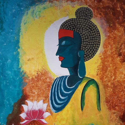 buddha for peace and tranquility, 36 x 48 inch, deeps sharma,36x48inch,canvas,paintings,buddha paintings,religious paintings,paintings for dining room,paintings for living room,paintings for bedroom,paintings for dining room,paintings for living room,paintings for bedroom,acrylic color,GAL01850129928