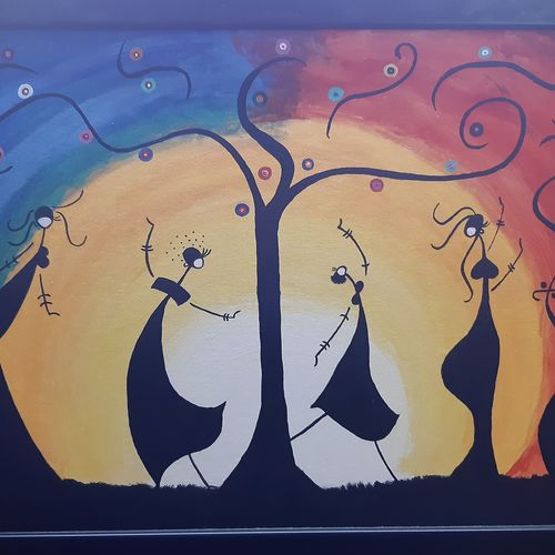 happiness: dancing dolls, 36 x 24 inch, deeps sharma,36x24inch,canvas,paintings,abstract paintings,folk art paintings,modern art paintings,impressionist paintings,paintings for dining room,paintings for living room,paintings for bedroom,paintings for school,acrylic color,GAL01850129929