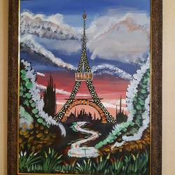 eiffel tower, 18 x 23 inch, deeps sharma,18x23inch,canvas,paintings,flower paintings,cityscape paintings,nature paintings | scenery paintings,water fountain paintings,paintings for dining room,paintings for living room,paintings for bedroom,paintings for office,acrylic color,GAL01850129932