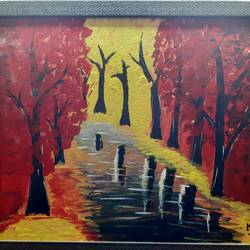 vibrant landscape, 20 x 16 inch, deeps sharma,20x16inch,canvas,paintings,landscape paintings,nature paintings | scenery paintings,paintings for dining room,paintings for living room,paintings for bedroom,paintings for office,acrylic color,GAL01850129933