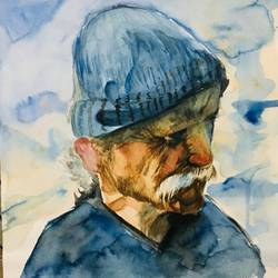 old man in grief, 9 x 12 inch, saurabh tripathi,9x12inch,cartridge paper,paintings,figurative paintings,watercolor,GAL01850429935