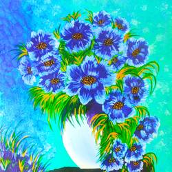 blue flowers, 18 x 24 inch, vimal drall,18x24inch,canvas,paintings,flower paintings,abstract expressionism paintings,acrylic color,GAL01417729939