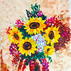 sunflowers like sun, 18 x 24 inch, vimal drall,18x24inch,canvas,paintings,flower paintings,abstract expressionism paintings,acrylic color,GAL01417729940