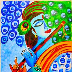 krishna, 18 x 24 inch, vimal drall,18x24inch,canvas,paintings,radha krishna paintings,acrylic color,GAL01417729941