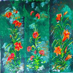 flowers in dark, 24 x 18 inch, vimal drall,24x18inch,canvas,flower paintings,acrylic color,GAL01417729942