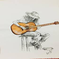 street musician, 9 x 12 inch, saurabh tripathi,9x12inch,cartridge paper,paintings,figurative paintings,watercolor,GAL01850429945