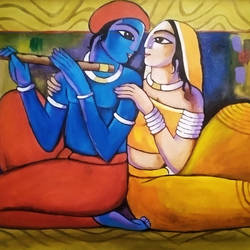 radha krishna, 24 x 15 inch, apurva suvarna,24x15inch,canvas,paintings,abstract paintings,figurative paintings,religious paintings,radha krishna paintings,love paintings,acrylic color,GAL0477529947