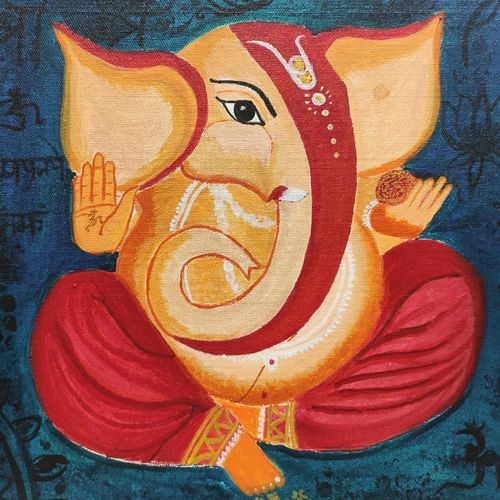 ganaesha, 10 x 10 inch, anupama gopinath,10x10inch,canvas,paintings,figurative paintings,ganesha paintings | lord ganesh paintings,acrylic color,oil color,GAL01851129952