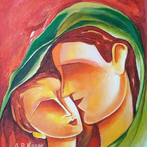 mother and child -4, 10 x 12 inch, a.b.  kaser,abstract expressionist paintings,paintings for living room,paintings for bedroom,canvas,acrylic color,10x12inch,GAL06362996