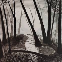 black and white, 16 x 12 inch, samir lingwal,16x12inch,thick paper,paintings,landscape paintings,watercolor,paper,GAL01818729962