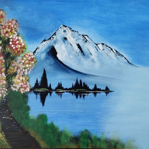 snow hill, 30 x 24 inch, samir lingwal,30x24inch,canvas,paintings,landscape paintings,paintings for dining room,paintings for living room,paintings for bedroom,paintings for kids room,paintings for hotel,paintings for hospital,acrylic color,GAL01818729963
