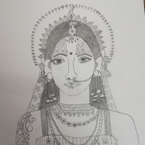 radha, 10 x 10 inch, ankita jain,10x10inch,paper,paintings for living room,portrait drawings,paintings for living room,paper,GAL01836629964
