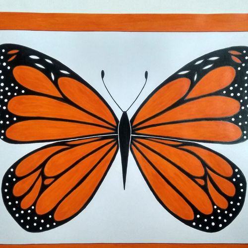 orange butterfly, 16 x 12 inch, geeta kwatra,16x12inch,ivory sheet,paintings,wildlife paintings,paintings for kids room,paintings for hotel,acrylic color,mixed media,GAL0899129966