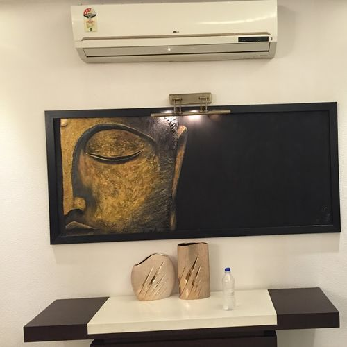 harmony, 66 x 30 inch, amita sinha,66x30inch,hardboard,paintings,buddha paintings,paintings for living room,paintings for office,mixed media,GAL01852429967
