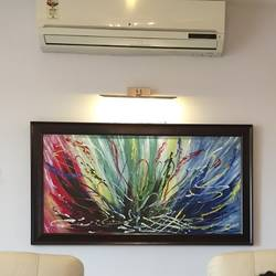 cosmic chaos, 52 x 28 inch, amita sinha,52x28inch,hardboard,paintings,abstract paintings,paintings for dining room,paintings for living room,paintings for office,paintings for hotel,acrylic color,GAL01852429968