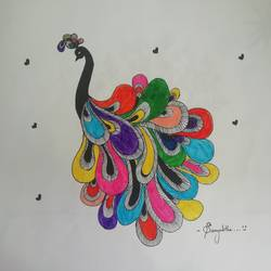 peacock, 14 x 11 inch, samyuktha devi,14x11inch,drawing paper,paintings for living room,paintings for kids room,paintings for living room,paintings for kids room,ball point pen,GAL01852729970