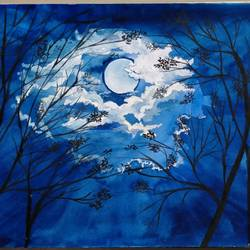 moon night, 12 x 8 inch, chandrani das,12x8inch,drawing paper,paintings,landscape paintings,nature paintings | scenery paintings,paintings for dining room,paintings for living room,paintings for bedroom,paintings for office,paintings for bathroom,paintings for kids room,paintings for hotel,paintings for kitchen,paintings for school,paintings for hospital,watercolor,GAL01316929974