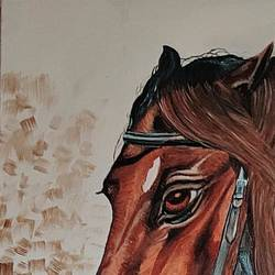 horse canvas oil painting, 15 x 22 inch, sunita srivastava,15x22inch,canvas board,wildlife paintings,horse paintings,oil color,GAL01662829979