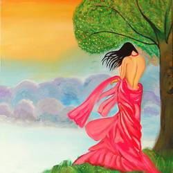 lady in pink, 24 x 36 inch, ayushi jain,figurative paintings,paintings for living room,canvas,acrylic color,24x36inch,GAL03682998