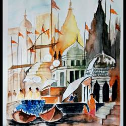kashi ghat, 9 x 12 inch, saurabh tripathi,9x12inch,cartridge paper,paintings,religious paintings,watercolor,GAL01850429980