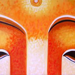 gautam budha, 30 x 20 inch, ayushi jain,buddha paintings,paintings for office,religious paintings,paintings for living room,canvas,acrylic color,30x20inch,religious,peace,meditation,meditating,gautam,goutam,buddha,orange,blessing,GAL03682999