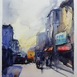 untitled, 12 x 17 inch, praveen g nair,12x17inch,brustro watercolor paper,cityscape paintings,watercolor,GAL01854229996