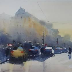 culcutta street, 17 x 12 inch, praveen g nair,17x12inch,brustro watercolor paper,cityscape paintings,watercolor,GAL01854229997