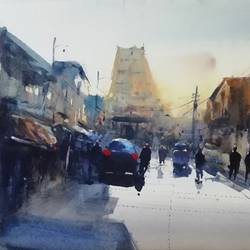 temple street, 12 x 8 inch, praveen g nair,12x8inch,brustro watercolor paper,paintings,cityscape paintings,watercolor,GAL01854229998