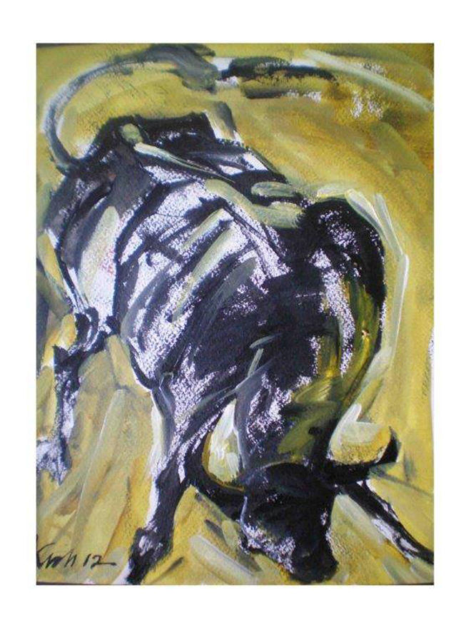 shade of bull, 14 x 12 inch, kishore ghosh,wildlife paintings,paintings for dining room,fabriano sheet,acrylic color,14x12inch,GAL0124300