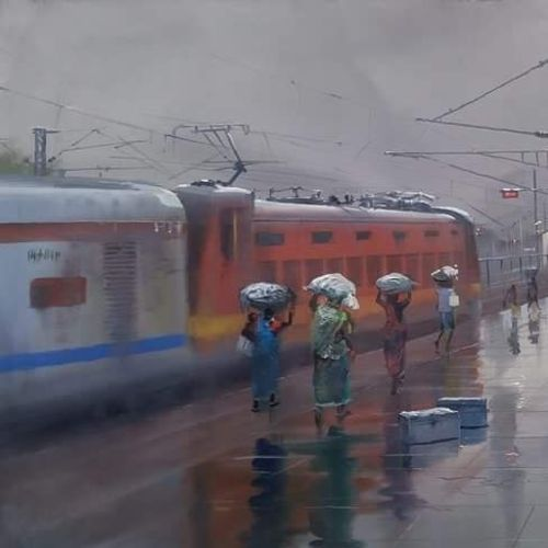 wet platform bilaspur , 40 x 36 inch, bijay  biswaal,realism paintings,paintings for living room,canvas,acrylic color,40x36inch,GAL011743000