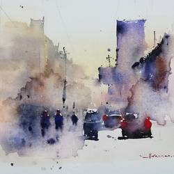 untitled, 12 x 8 inch, praveen g nair,12x8inch,handmade paper,paintings,cityscape paintings,watercolor,GAL01854230000