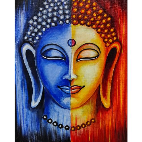 budhha canvas painting, 8 x 10 inch, ganesh mestry,8x10inch,canvas,paintings,abstract paintings,buddha paintings,modern art paintings,art deco paintings,paintings for dining room,paintings for living room,paintings for bedroom,paintings for office,paintings for kids room,paintings for hotel,paintings for school,paintings for hospital,fabric,natural color,poster color,GAL01106330002