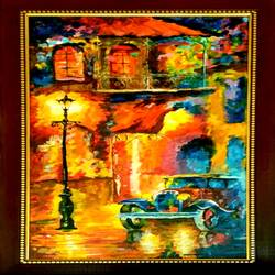 old town antique acrylic painting, 10 x 24 inch, meenakshi  sethi,10x24inch,canvas,abstract paintings,acrylic color,GAL01825630003