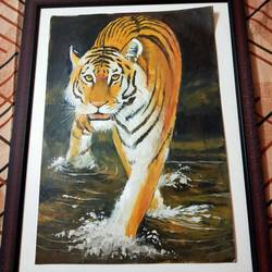 wild animal, 12 x 17 inch, janaki desikachari ,12x17inch,thick paper,paintings,animal paintings,paintings for living room,oil color,GAL01812030004