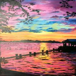 sunset evening, 20 x 28 inch, meenakshi  sethi,20x28inch,canvas,abstract paintings,nature paintings | scenery paintings,oil color,GAL01825630007