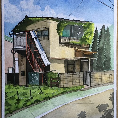 home, 12 x 16 inch, amit  bandal,12x16inch,handmade paper,paintings,nature paintings | scenery paintings,paintings for dining room,paintings for living room,paintings for bedroom,paintings for office,paintings for kids room,paintings for hotel,paintings for kitchen,paintings for school,paintings for hospital,watercolor,paper,GAL01855330008