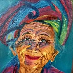 rajasthani old lady, 12 x 12 inch, meenakshi  sethi,12x12inch,canvas,paintings,portrait paintings,oil color,GAL01825630009