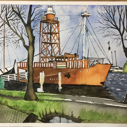 shipping boat scenery, 16 x 12 inch, amit  bandal,16x12inch,handmade paper,paintings,nature paintings | scenery paintings,paintings for dining room,paintings for living room,paintings for office,paintings for bathroom,paintings for kids room,paintings for hotel,paintings for kitchen,paintings for school,paintings for hospital,watercolor,paper,GAL01855330011