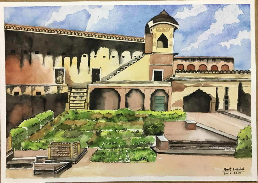 palace, 16 x 12 inch, amit  bandal,16x12inch,handmade paper,paintings,cityscape paintings,paintings for dining room,paintings for living room,paintings for office,paintings for bathroom,paintings for kids room,paintings for hotel,paintings for kitchen,paintings for school,paintings for hospital,watercolor,paper,GAL01855330013