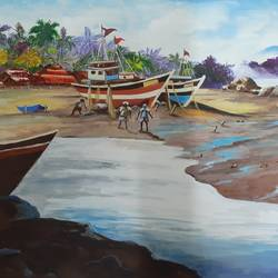 goa , 4 x 5 inch, subhamjit deb,4x5inch,canvas,nature paintings | scenery paintings,watercolor,GAL01858030022